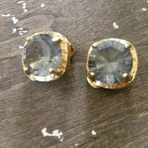 Clip on Earrings Grey Stone/Gold